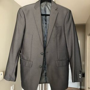 Calvin Klein Gray Sharkskin Slim Fit Suit Jacket